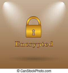 Encrypted icon Internet button on brown background