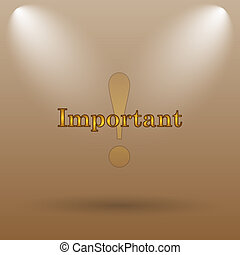 Important icon Internet button on brown background