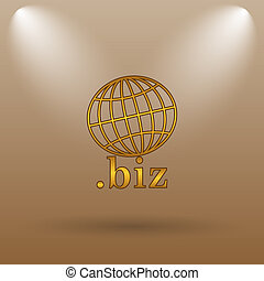 biz icon Internet button on brown background