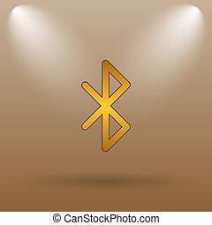 Bluetooth icon Internet button on brown background