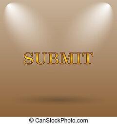 Submit icon Internet button on brown background
