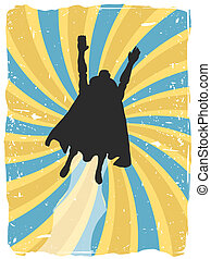 Superhero silhouette flies
