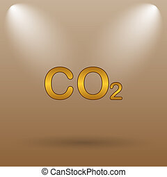 CO2 icon Internet button on brown background