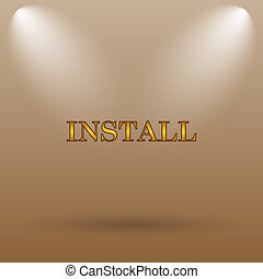 Install icon Internet button on brown background