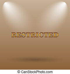 Restricted icon Internet button on brown background