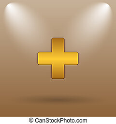 Medical cross icon Internet button on brown background