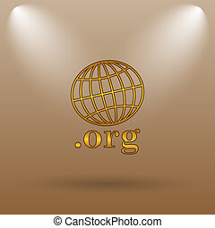 org icon Internet button on brown background