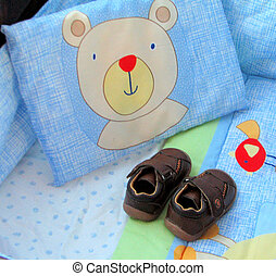 BABY SHOES SOUTH AFRICA - BABY SHOES IN BED WITH BEAR PILLOW