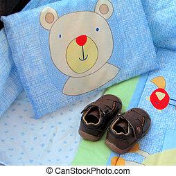 bebé, zapatos, sur, áfrica