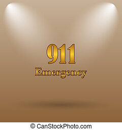 911 Emergency icon. Internet button on brown background.