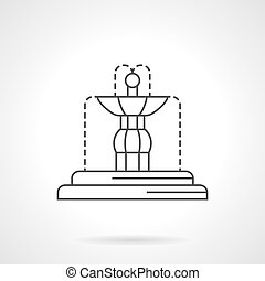 Fountain sculpture flat line vector icon - Fountains...