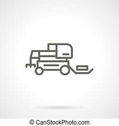 Hay tractor black line vector icon - Agricultural machinery...