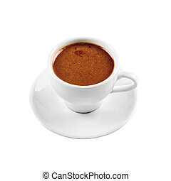 hot chocolate - cup of hot chocolate isolated on a white...