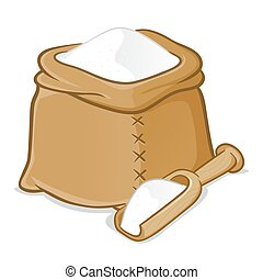Sack of Flour With Wooden Scoop - Vector stock of a sack...