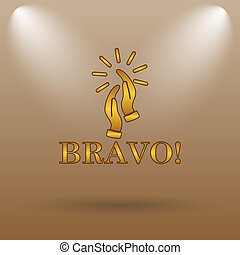 Bravo icon. Internet button on brown background.