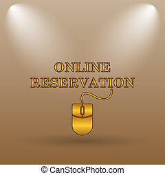 Online reservation icon Internet button on brown background...
