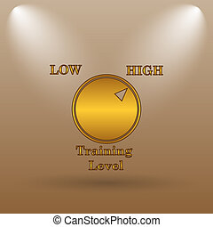 Training level icon Internet button on brown background