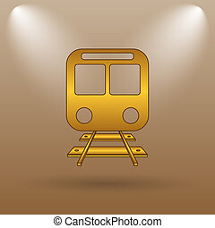 Train icon Internet button on brown background