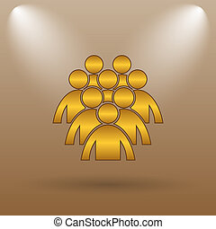 Group of people icon Internet button on brown background