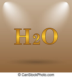 H2O icon. Internet button on brown background.