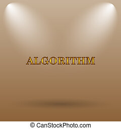 Algorithm icon Internet button on brown background
