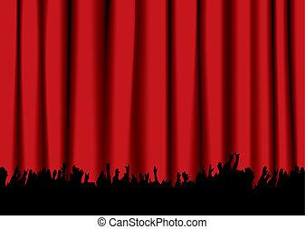 concierto, multitud, rojo, cortina