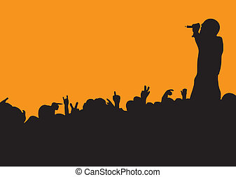 concert crowd wave - Crowd silhouette at music concert with...