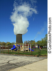 Massive coal fired power plant - Billowing smoke coming from...
