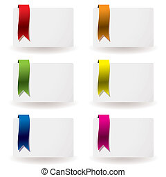ribbon business card - Flowing colourful ribbon on white...