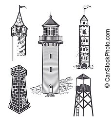 Tower Collection - Clip art collection of various towers