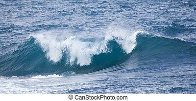 breaking ocean waves - powerful foamy ocean waves breaking...
