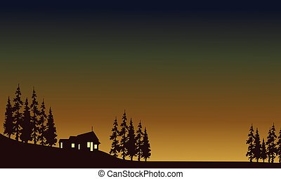 House with light in fields