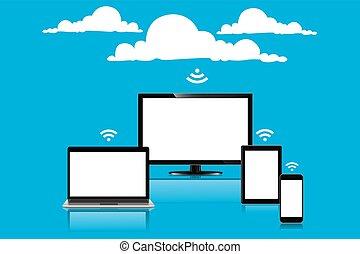 Cloud computing concept, vector