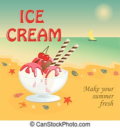 banner with ice-cream on the beach