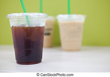 Iced black coffee take-home cup
