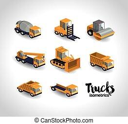 trucks isometrics design - trucks isometrics design, vector...