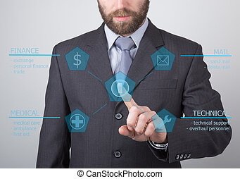 technology, internet and networking concept - businessman pressing technical support button on virtual screens. Internet technologies in business