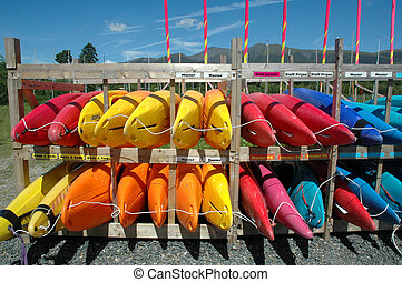 Abstract canoes - abstract canoes colourful