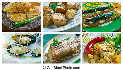 set of different seafoods - Food set of different seafoods...
