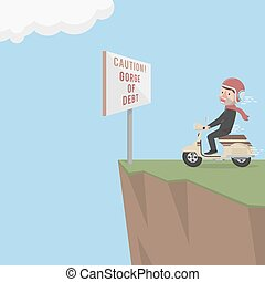 Business man ride to debt cliff
