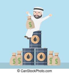 Árabe, negócio, homem, Feliz, com, mone,