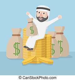 Arabic business man sitting on much money