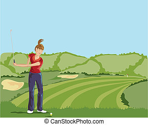 lady golfer - hand drawn vector illustration of a lady...