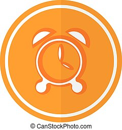 Flat simple icon alarm on a red circle. It is easy to change the shape and color. Vector illustration