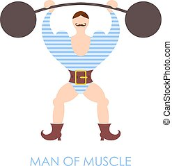 The flat image of a circus strongman with barbell on a white background. Vector illustration