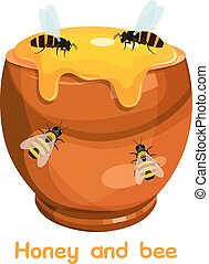 Cartoon image of a clay pot with honey and bees. Vector illustration