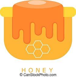 Vector illustration of cartoon flat pot of honey