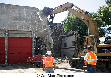 Building Demolition (2) - Two unidentified construction...