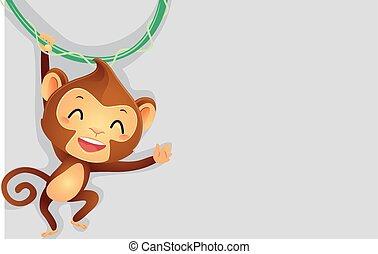 Monkey hanging on vine Background