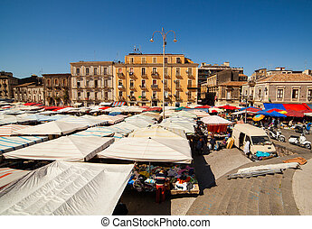 View of open market called fera ograve; Luni, Catania - View...